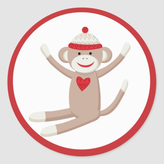 Cute Sock Monkey Envelope Seals or Toppers