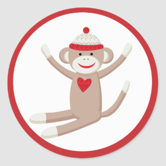 Cute Sock Monkey Envelope Seals or Toppers Stickers