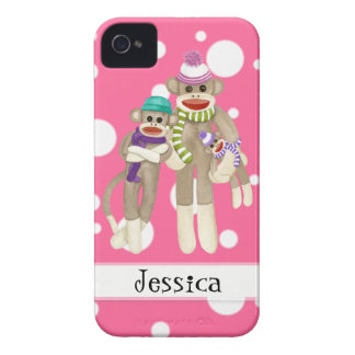Cute Sock Monkey Girl Friends Whimsical Fun Art iPhone 4 Case-Mate Case