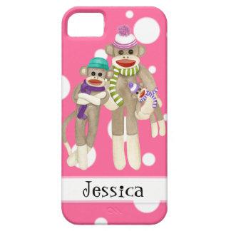 Cute Sock Monkey Girl Friends Whimsical Fun Art iPhone SE/5/5s Case