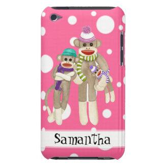 Cute Sock Monkey Girl Friends Whimsical Fun Art iPod Case-Mate Case