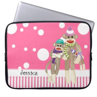 Cute Sock Monkey Girl Friends Whimsical Fun Art Laptop Sleeve