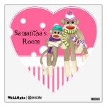 Cute Sock Monkey Girl Friends Whimsical Fun Art Room Stickers