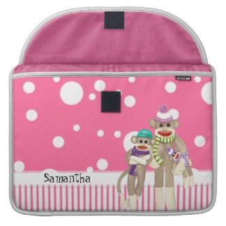 Cute Sock Monkey Girl Friends Whimsical Fun Art Sleeve For MacBook Pro