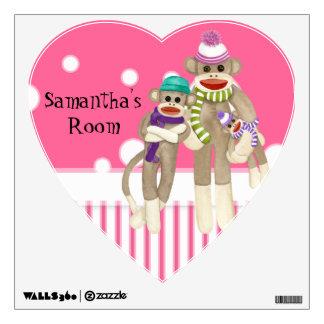 Cute Sock Monkey Girl Friends Whimsical Fun Art Wall Decal