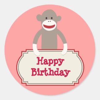 Cute Sock Monkey Happy Birthday Stickers