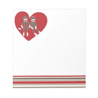 Cute Sock Monkey in Love Memo Notepad