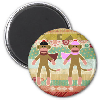 Cute Sock Monkey on Cloth Pattern 2 Inch Round Magnet