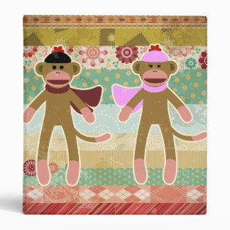 Cute Sock Monkey on Cloth Pattern 3 Ring Binder