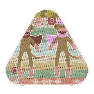 Cute Sock Monkey on Cloth Pattern Bluetooth Speaker