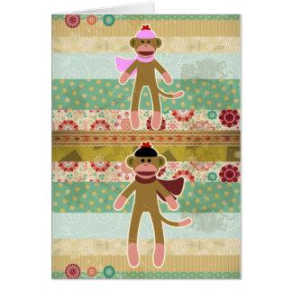 Cute Sock Monkey on Cloth Pattern Card