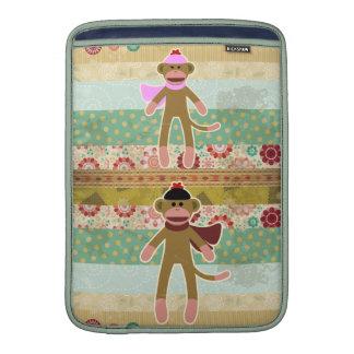 Cute Sock Monkey on Cloth Pattern MacBook Air Sleeve