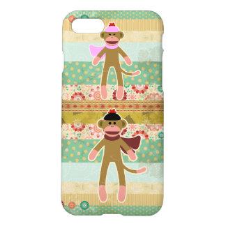 Cute Sock Monkey on Cloth Pattern iPhone 8/7 Case