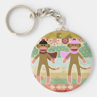 Cute Sock Monkey on Cloth Pattern Keychain