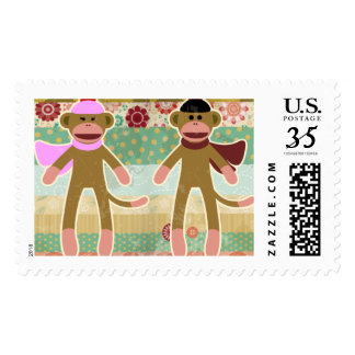 Cute Sock Monkey on Cloth Pattern Postage Stamps