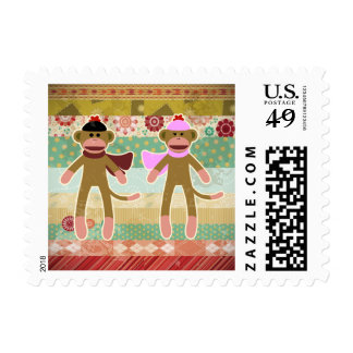 Cute Sock Monkey on Cloth Pattern Postage
