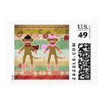 Cute Sock Monkey on Cloth Pattern Stamp