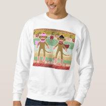 Cute Sock Monkey on Cloth Pattern Sweatshirt