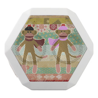 Cute Sock Monkey on Cloth Pattern White Bluetooth Speaker