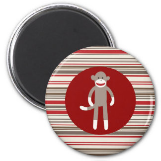 Cute Sock Monkey on Red Circle Red Brown Stripes 2 Inch Round Magnet