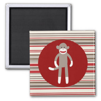 Cute Sock Monkey on Red Circle Red Brown Stripes 2 Inch Square Magnet