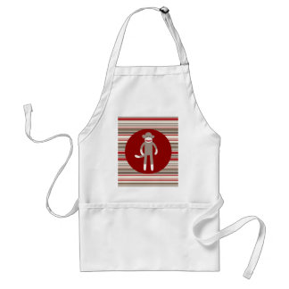 Cute Sock Monkey on Red Circle Red Brown Stripes Adult Apron