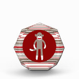 Cute Sock Monkey on Red Circle Red Brown Stripes Acrylic Award