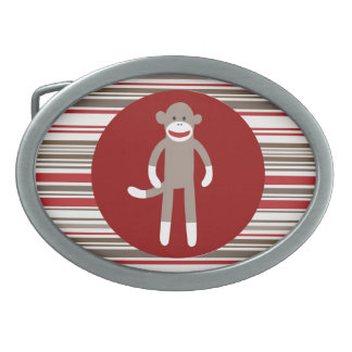 Cute Sock Monkey on Red Circle Red Brown Stripes Oval Belt Buckle