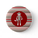 Cute Sock Monkey on Red Circle Red Brown Stripes Pin