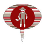 Cute Sock Monkey on Red Circle Red Brown Stripes Cake Toppers
