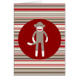 Cute Sock Monkey on Red Circle Red Brown Stripes Greeting Cards