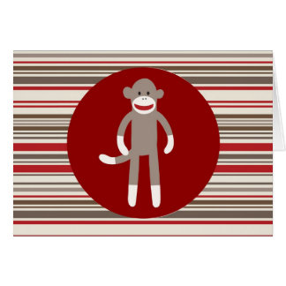 Cute Sock Monkey on Red Circle Red Brown Stripes Card
