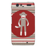 Cute Sock Monkey on Red Circle Red Brown Stripes Droid RAZR Case