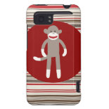 Cute Sock Monkey on Red Circle Red Brown Stripes HTC Vivid Cover