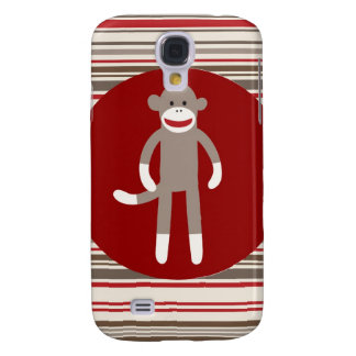 Cute Sock Monkey on Red Circle Red Brown Stripes Samsung Galaxy S4 Cover