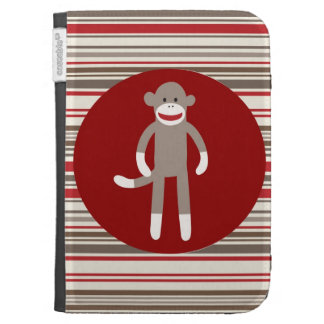 Cute Sock Monkey on Red Circle Red Brown Stripes Kindle 3 Cases