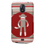Cute Sock Monkey on Red Circle Red Brown Stripes Galaxy Nexus Cover
