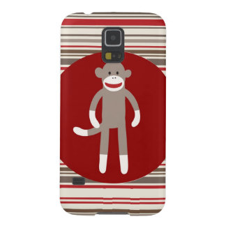 Cute Sock Monkey on Red Circle Red Brown Stripes Cases For Galaxy S5