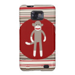 Cute Sock Monkey on Red Circle Red Brown Stripes Samsung Galaxy SII Cases