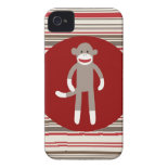 Cute Sock Monkey on Red Circle Red Brown Stripes Case-Mate iPhone 4 Case