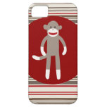 Cute Sock Monkey on Red Circle Red Brown Stripes iPhone 5 Covers