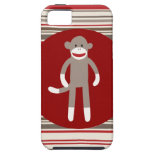 Cute Sock Monkey on Red Circle Red Brown Stripes iPhone 5 Case
