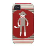 Cute Sock Monkey on Red Circle Red Brown Stripes Case-Mate iPhone 4 Covers
