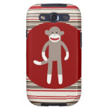 Cute Sock Monkey on Red Circle Red Brown Stripes Galaxy S3 Case