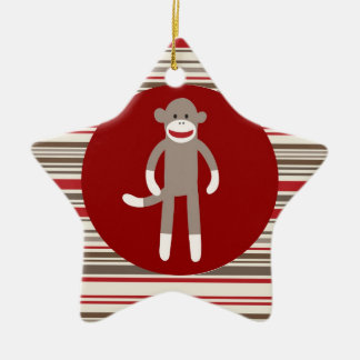 Cute Sock Monkey on Red Circle Red Brown Stripes Ceramic Ornament