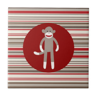 Cute Sock Monkey on Red Circle Red Brown Stripes Ceramic Tile