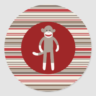 Cute Sock Monkey on Red Circle Red Brown Stripes Classic Round Sticker