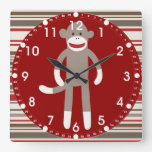 Cute Sock Monkey on Red Circle Red Brown Stripes Wallclock