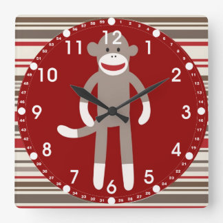 Cute Sock Monkey on Red Circle Red Brown Stripes Square Wall Clocks