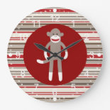 Cute Sock Monkey on Red Circle Red Brown Stripes Clocks